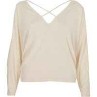 River Island Womens Cream Cold Shoulder Strappy Batwing Top