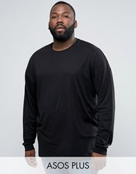 Asos Plus Oversized Long Sleeve T Shirt In Black Black