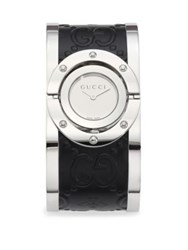 Twirl Stainless Steel Guccissima And Bee Leather Bangle Analog Watch 112 J Black