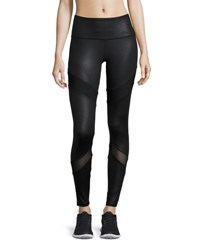 X By Gottex Double Blocked Mesh Inset Performance Leggings Black