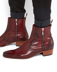 Jeffery West Carlito Western Zip Boots Red