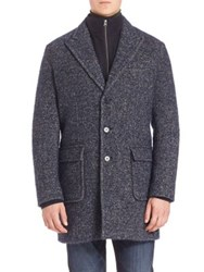 Saks Fifth Avenue Herringbone Tweed Coat Navy