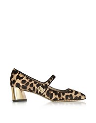 Tory Burch Marisa Natural Leopard Print And Black Leather Mary Jane Pumps Brown