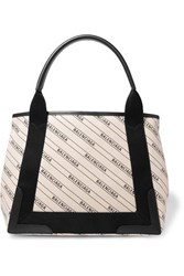 Balenciaga Cabas Small Leather Trimmed Canvas Tote Ivory