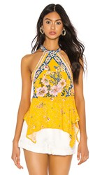 Free People New Wave Halter Top In Yellow.