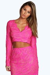 Boohoo Plunge Neck Eyelash Lace Long Sleeve Crop Top Pink