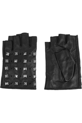 Karl Lagerfeld Studded Fingerless Leather Gloves Black