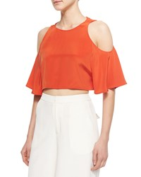 Elle Sasson Teresa Cold Shoulder Crop Top Orange