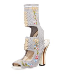 Fendi Embroidered Lace Up Sandal Bootie Gray Pattern
