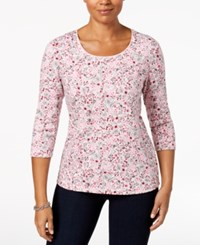 Karen Scott Petite Cotton Printed Scoop Neck Top Created For Macy's Blush