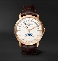 Vacheron Constantin Patrimony Moon Phase And Retrograde Date Automatic 42.5Mm 18 Karat Pink Gold And Alligator Watch White