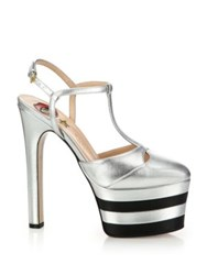 Gucci Angel Metallic Leather Platform Pumps Silver Black