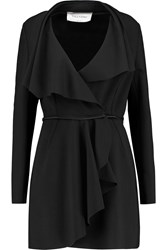 Valentino Ruffle Trimmed Wool Blend Coat