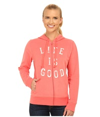 Life Is Good Go To Zip Hoodie Sunny Coral Women's Sweatshirt Orange