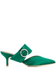 Malone Souliers Maite Crystal Buckle Satin Pumps Green