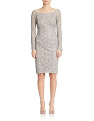 Cachet Sequined Lace Sheath Dress Stone