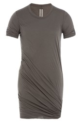 Rick Owens Men Draped Cotton T Shirt Grey
