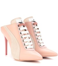 Fenty By Rihanna Lace Up Leather Mules Pink