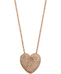 Giani Bernini Cubic Zirconia Pave Heart Pendant Necklace In 18K Rose Gold Plated Sterling Silver Only At Macy's