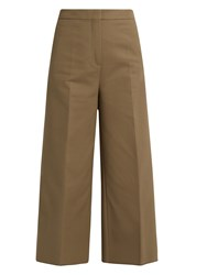 Rochas Wide Leg Stretch Cotton Cropped Trousers Grey
