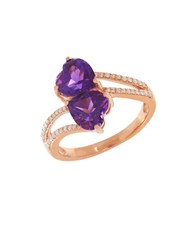 Lord And Taylor Diamond Amethyst 14K Rose Gold Ring