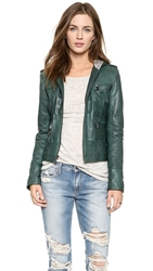 Ever Ludlow Hooded Leather Jacket Forest