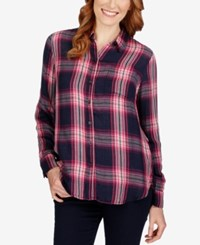 Lucky Brand Long Sleeve Plaid Shirt Pink Multi