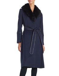 Badgley Mischka Shearling Collared Wrap Coat Navy
