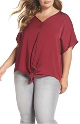 Lucky Brand Plus Size Tie Front Satin Top Beet Red