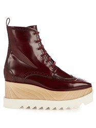 Stella Mccartney Elyse Lace Up Platform Brogue Boots Burgundy