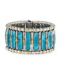 Konstantino Faceted Crystal Quartz Over Chrysocolla Cuff Bracelet Blue