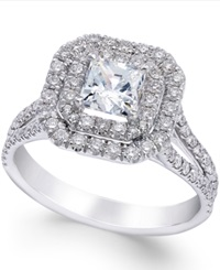 Macy's Certified Diamond Halo Engagement Ring In 18K White Gold 1 3 8 Ct. T.W.