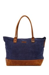 Maker And Company Crazy Horse Leather Trim Canvas Tote Bag Blue