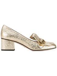 Gucci Marmont Leather Mid Heel Pumps Metallic