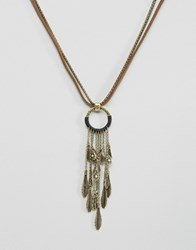 Asos Necklace With Gold Feather Gold