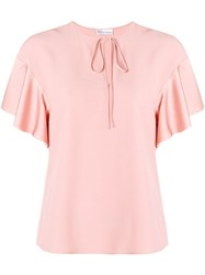 Red Valentino Ruffled Sleeves T Shirt Pink And Purple