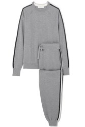 Olivia Von Halle London Striped Silk And Cashmere Blend Sweatshirt And Track Pants Set Gray