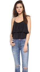 Tbags Los Angeles V Neck Ruffle Top Black