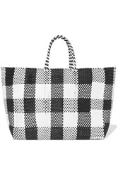 Truss Plaid Large Woven Raffia Effect Tote Black