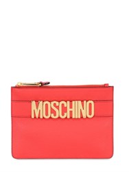 Moschino Logo Lettering Leather Pouch