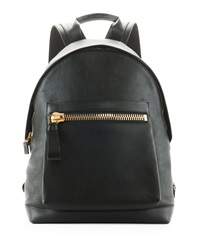 Tom Ford Zip Pocket Pebbled Backpack Black