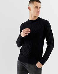 New Look Cable Knit Jumper In Navy