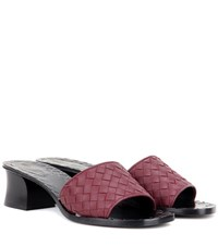 Bottega Veneta Leather Slip On Sandals Red