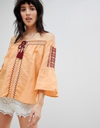 Hazel Off Shoulder Embroidered Tassel Tie Blouse Yellow
