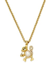 Kate Spade New York Gold Tone Imitation Pearl Pave Monkey Pendant Necklace