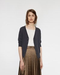 Margaret Howell Short Sleeve Cardigan Charcoal