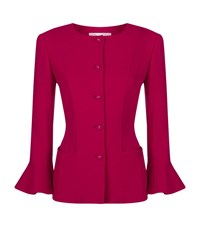 Oscar De La Renta Flared Cuff Crepe Jacket Female