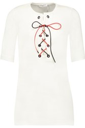 Sonia Rykiel Lace Up Cotton Jersey Top Off White