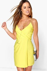Boohoo Leanna Strappy Wrap Detail Bodycon Dress Yellow