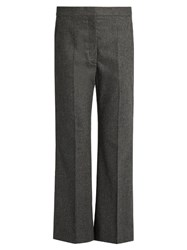 Stella Mccartney Flared Wool And Cashmere Blend Cropped Trousers Dark Grey